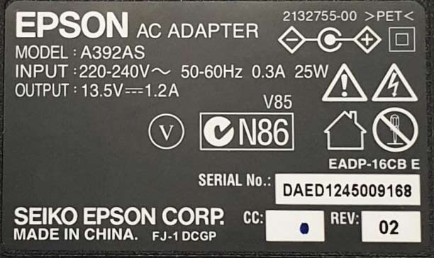 Epson scanner AC adapter 2