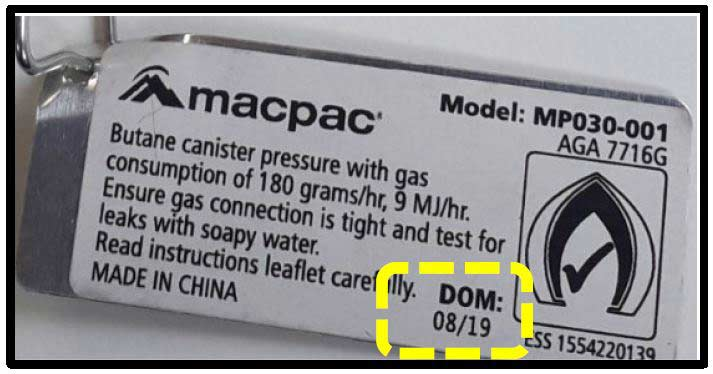 Macpac Micro Stove batch 08 19 identification 3