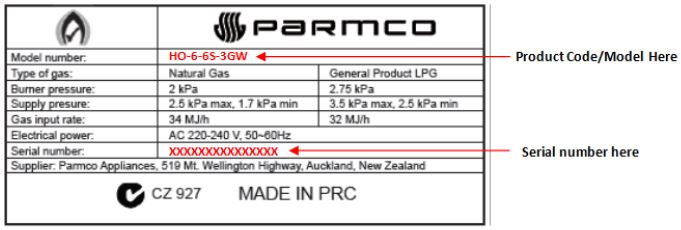 Parmco Gas Hob serial number identifier